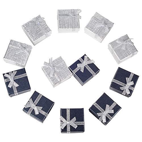 BENECREAT 12 Pack Bague Boite Cadeau avec Mousse et Insert en Velours Petit Boite Cadeau Rigide pour Bijoux en Boucle d'oreille, Argent et Noir - 5x5x3cm