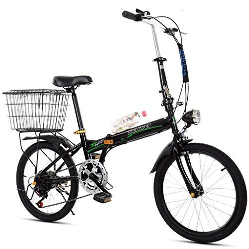 HFFFHA Ligera Bicicletas Plegables Ciudad de Bicicletas de la Bici Adulta Ultra Ligero Amortiguador de Bicicleta portátil Bicicletas de cercanías (Color : B)