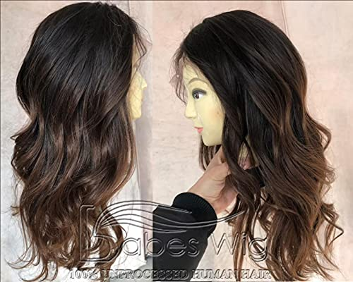 Real Human Hair Brown Ombre Colored Wavy Glueless Silk Top Lace Front Wigs For White Women Natural Hair Wigs Caucasian