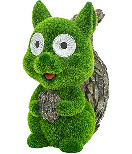 Dehner Dekofigur Solarleuchte Eichhörnchen Brösel, ca. 21.5 x 17.5 x 10.5 cm, Polyresin/Kunststoff, grün/grau