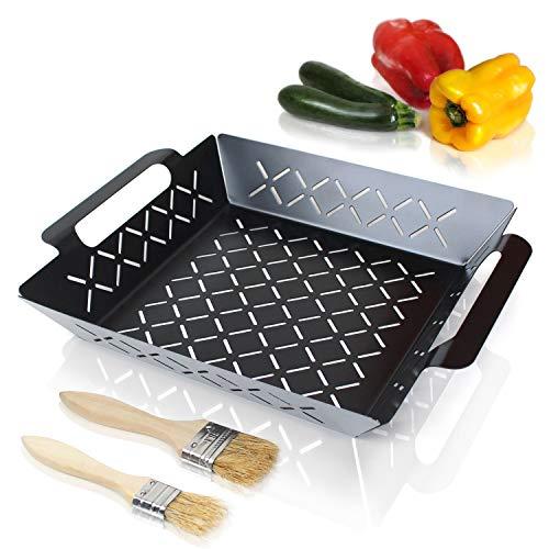 Amazy Grillkorb inkl. 2 Pinsel – Beschichtete BBQ Grillschale für die Zubereitung von Gemüse, Fisch und Fleisch auf dem Holzkohle- oder Gasgrill und im Backofen