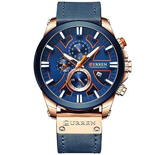 YIBOKANG Negocios para Hombres Casual Deportes Multifunción Noche Meter Fechas Dial 30 M Reloj De Cuarzo Impermeable Personalidades De Moda con Reloj De Regalo (Color : 3)