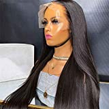 Long Straight Synthetic Lace Front Wigs for Black Women #2 Hair Color Heat Resistant Fiber Hair Glueless Synthetic Wig with Baby Hair Free Part 150% Density 26Inch