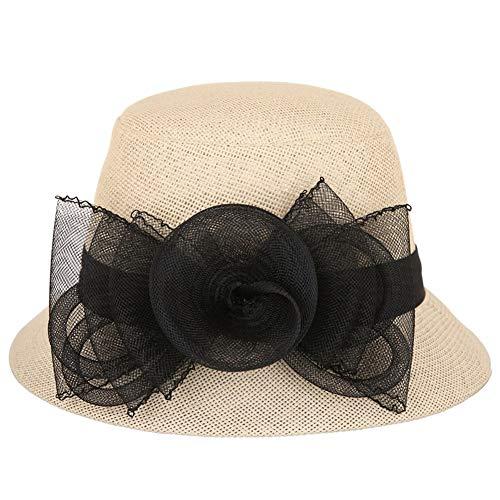 XueQing Pan Verfrissende koele hoed mode zwart grote bloem (Kleur : Rijst Geel, Maat : 57cm)