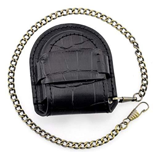 (よんピース)4piece 懐中 時計 ケース 皮 レザー 保護 ブラック 黒 チェーン 付 KH0000 (ブラック(クロコ風))