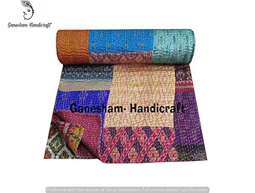 Décoration d'intérieur vintage patchwork Kantha, couverture indienne, linge de lit en coton, couvre-lit pour enfants, couvre-lit réversible, linge de lit Kantha, drap de lit, couverture de canapé, couvre-lit bohème,