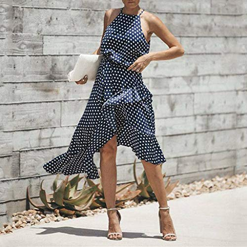 Vestido Mujer Verano 2019 Vestido Estampado De Lunares De Gasa De Verano para Mujer Falda Corta con Volante Irregular