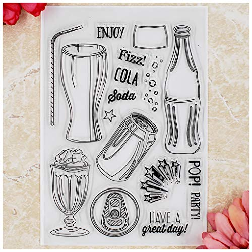 Kwan Crafts Enjoy Party Cola Clear Stamps for Card Making Decoration and DIY Scrapbooking