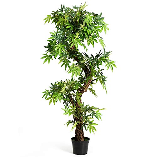 Goplus Fake Tree Artificial Sargent Gloryvine Plants in Nursery Pot Decorative Trees for Home, Office, Lobby (5ft Sargent gloryvine)