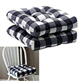 HowPlum 2-Pack Kitchen Dining Chair Pad Reversible Seat Cushion for Indoor Use with Ties, Black White Buffalo Check Plaid