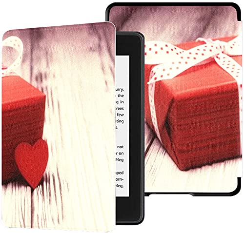 Estuche para el Nuevo Kindle Paperwhite Funda de Tela Resistente al Agua (décima generación, versión 2018), Caja de Regalo roja Estuche para Tableta con Forma de corazón pequeño