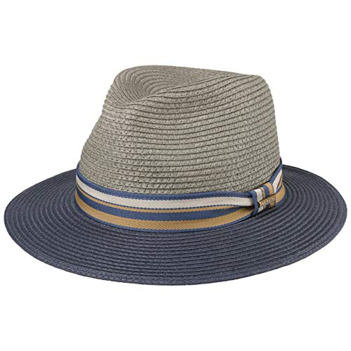 Stetson Sombrero de Paja Romaro Toyo Hombre - Traveller Verano Playa con Banda Grosgrain Primavera/Verano - XL (60-61 cm) Gris
