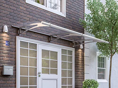 Schulte V1020-10-20 Auvent LT-Line modulaire, marquise de porte d'entrée en verre acrylique transparent, fixation en inox, 287x142 cm
