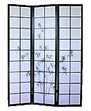 PEGANE Biombo japonés de Madera Negro con Dibujo bambú 3 Paneles