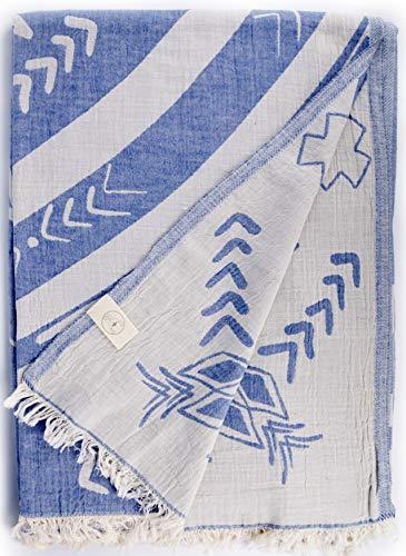 Bersuse Kona XXL - Manta turca (100% algodón), Color Gris y Azul