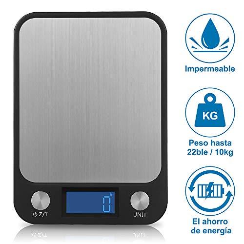 Slowton Balanza digital de alimentos, Capacidad de 22lb/10kg, báscula de cocina, pantalla LCD grande y…