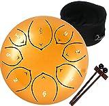 Amkoskr 8 Pulgadas 20cm Tambor de Lengua de Acero con 8 Notas Tonos C Percusión Instrumento Tambor de Mano para Niño con Mazos de Tambor/Bolsa de Transporte(Oro)