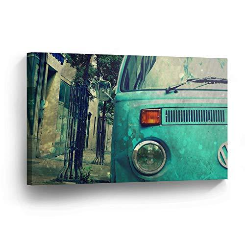 cwb2jcwb2jcwb2j Canvas Print Klassieke Volkswagen Van Green Home Decor Camper Oude Vintage Bus Wall Art Gallery Ingelijst Canvas Klaar om op te hangen