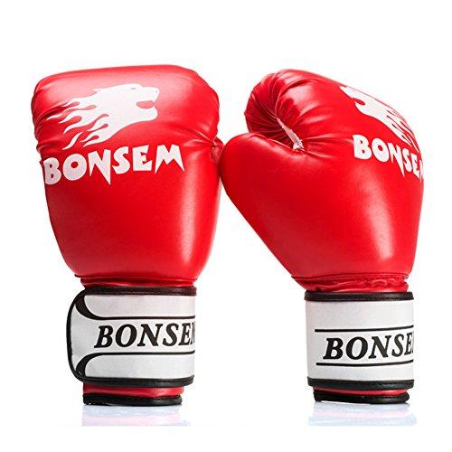 Full Finger Boxhandschuhe Boxhandschuhe Training Handschuhe Kickboxen Handschuhe Boxsack Handschuhe Boxen Gym Handschuhe, rot