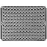 Dish Drying Mat, McoMce Drying Mat, Eco-Friendly Silicone Dish Mat, Dishwasher Safe Kitchen Drying Mat, Easy Clean Heat Resistant Trivet Silicone Drying Mat, Grey Dish Drying Mats for Kitchen Counter