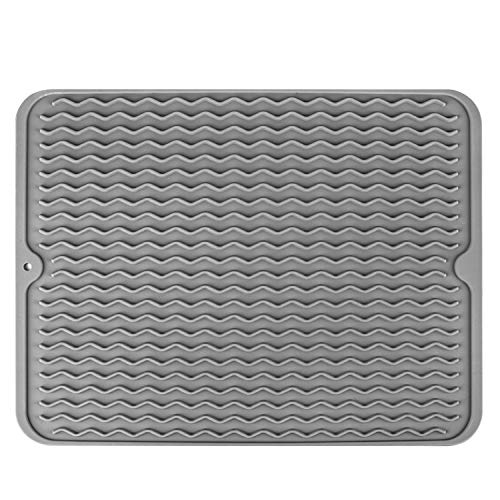 Dish Drying Mat McoMce Drying Mat Eco-Friendly Silicone Dish Mat Dishwasher Safe Kitchen Drying Mat Easy Clean Heat Resistant Trivet Silicone Drying Mat Grey Dish Drying Mats for Kitchen Counter