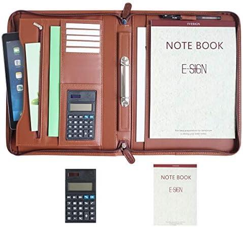 IVESIGN Zippered Padfolio Portfolio Binder PU Leather Briefcase Professional Interview Padfolio product image