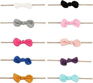 Baby Girls Nylon Elastic Headband Soft Flower Hair Band For Toddler Infant Newborn Set Of 10