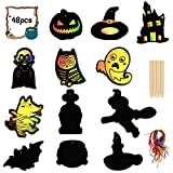 Matogle 48 Piezas de Halloween Scratch Art Craft Scratch Castle Pumpkin Ghost Bat Adorno Kits de...