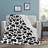 Artsadd Cow Print Blanket, Ultra Soft Sherpa Fleece Throw Blankets Warm Cozy Plush Blanket for Bedroom Living Room Sofa Travel Camping