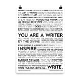 The Writing Manifesto Writer Inspiration Premium Print - for Authors, Poets & Wordsmiths to Combat Writer's Block & Boost Creativity; Writing and Poetry Wall Art; Gift for Writers; Matte 18x24 Inches