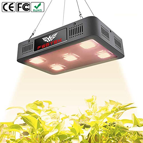 FSGTEK 1500w Full Spectrum COB LED Grow Light for Indoor Plants, Veg and Flower, with UV & IR Bulbs Led Plant Light, Hanging Hook Kits (Black)