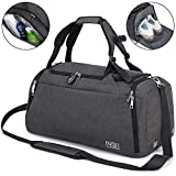 Sports Duffle Bag with Shoes Compartment and Wet Pocket, 42L Waterproof Gym Bag
