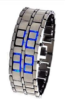 Monbedos Montre LED Bracelet lumière Bleue Bracelet en métal Noir Style de Lave Montre LED numérique pour Homme et garçon ...