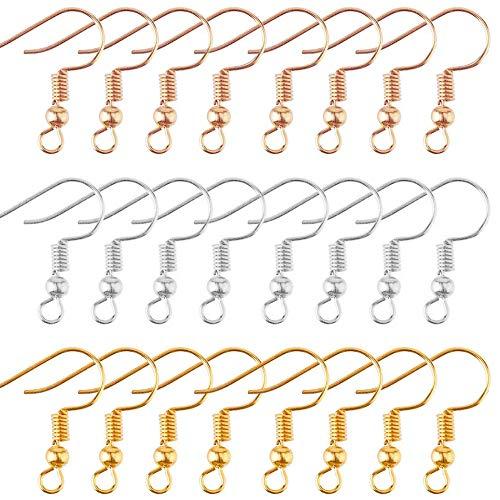 Keleily Ohrhaken 200 Stück Ohrring Haken mit Kugel Ohrhaken zur Schmuckherstellung, DIY, Ohrringherstellung, 18mm, 3 Farben (Gold, KC Gold, Silber)