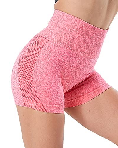 NORMOV pantalones cortos de gimnasio sin costuras de cintura alta para mujer, transpirable, control de barriga, entrenamiento, yoga, 3 cm -  Rosa -  Large