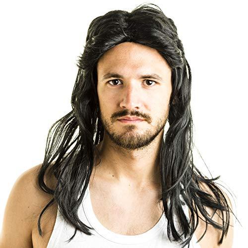 AWS Mullet Peluca – Peluca Larga de Vestido Negro para Waynes ...