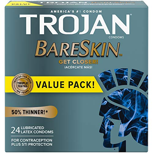 Trojan Bareskin Thin Premium Lubricated Condoms - 24 Count