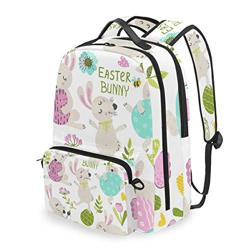 Rucksack mit abnehmbarem Kreuztaschen-Set Osterhase Computer Rucksäcke Büchertasche für Reisen Wandern Camping Daypack