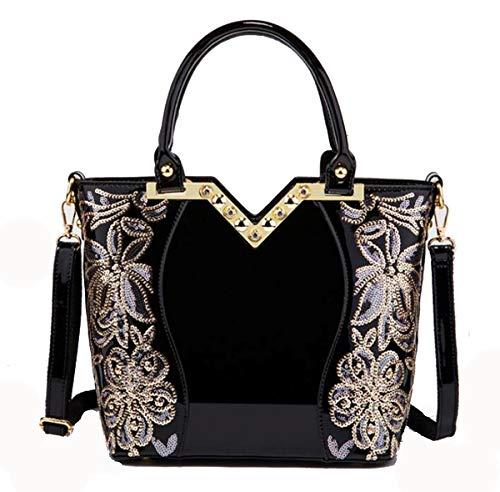 Damen Tasche Shopper PU Leder Handtasche mit Pailletten Lack Look Glitzer (Schwarz)