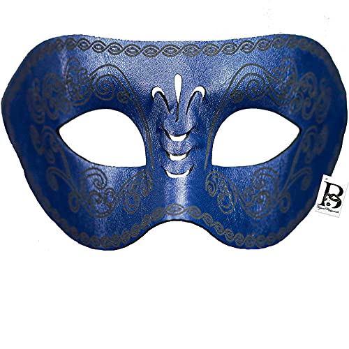 Men Masquerade Mask Leather Masks Prom Party Mask Steampunk Halloween Costume Prop Cosplay Mask for Men (Blue)