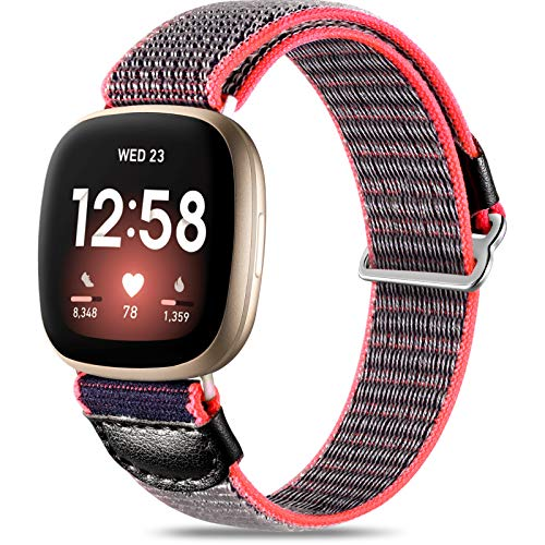JUVEL Strap Compatible with Fitbit Versa 3 StrapFitbit Sense Strap Soft Woven Nylon Sport Loop Breathable Replacement Wristband for Women Men Greyblue
