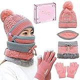 Photo Gallery winthai 5 pezzi kit cappello donna invernali, cappelli, sciarpa, guanti invernale, con confezione regalo, sciarpa donna morbido e caldo, set di cappello sciarpa invernale per regali natale donna rosa