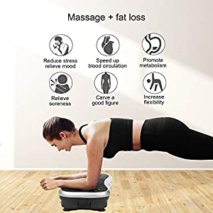 Real Relax Mini Vibration Plate Exercise Machine Full Whole Body Workout Home Massager and Fitness Platform Weight Loss & Toning, with Resistance Band,Remote Control and Support 330Ibs,Silver
