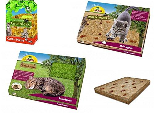 JR-Farm Ein Stück Natur Relax-, Spielpaket für Katzen inkl. Relax-Wiese + Aktiv-Teppich by Zoolox©