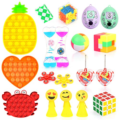 Fidget Toys Set with 3PCS Push Pop Bubble Sensory Toys 18 Pack Stress Relief and AntiAnxiety Toys for Kids Adults ADHD ADD Anxiety Autism with Puzzle Balls Liquid Motion Timer Guessing Egg Toys