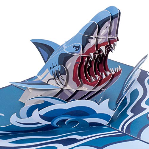 Paper Love Shark Pop Up Card, 3D Popup Greeting Cards, for Fathers Day, Mothers Day, Birthday, Thank You, All Occasion | 5' x 7'
