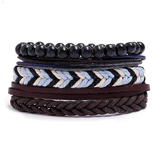 ABWEY Pulsera de cuerda de cáñamo trenzada retro, pulsera de cuero PU que se puede combinar y combinar libremente, elegante y simple, adecuada para adolescentes y adultos-F