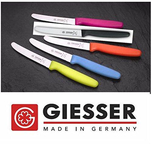 Giesser Messer 5x Allzweckmesser 11 cm Klingenlänge mit Wellenschliff Schwarz/Azurblau/Limone/Orange/Pink - Profimesser Made in Germany