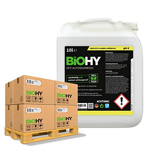 BIOHY Champú para Coches (50 x Bote de 10 litros) | excelente Poder de Limpieza y formación de Espuma | Produce una Fragancia Fresca y Duradera (KFZ Autoshampoo)