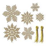 Anyingkai 36pcs Copo de Nieve Navidad,Copo de Nieve Navidad Plástico Colgante,Nieve para Arbol de Navidad,Copo de Nieve Decoracion,Adornos Arbol Navidad Copo de Nieve (Dorado-B)